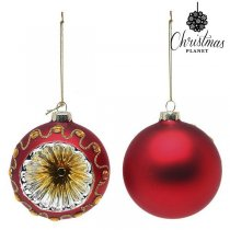 Julgranskulor Christmas Planet 1662 8 cm (2 pack) Glas Röd