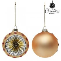 Julgranskulor Christmas Planet 1730 8 cm (2 pack) Glas Gyllene