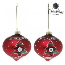 Julgranskulor Christmas Planet 1792 8 cm (2 pack) Glas Röd