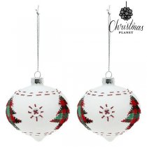 Julgranskulor Christmas Planet 2003 8 cm (2 pack) Glas Vit