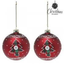 Julgranskulor Christmas Planet 1785 8 cm (2 pack) Glas Röd