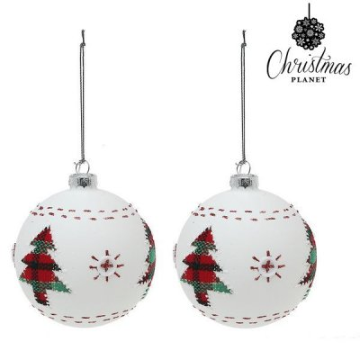 Julgranskulor Christmas Planet 1860 8 cm (2 pack) Glas Vit
